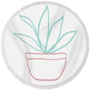 Pretty Potted Plant Illustration- Art By Linda Woods Round Beach Towel by Linda Woods