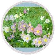 Pretty Primulas 1008 Round Beach Towel