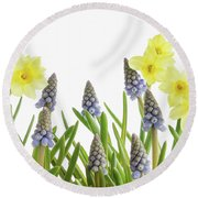 Pretty Spring Flowers All In A Row Round Beach Towel