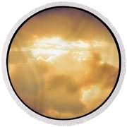 Pretty Storm Clouds With Sun Shine Round Beach Towel