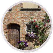 Pretty Terrace Beside The Groenerei Canal In Bruges Belgium Round Beach Towel