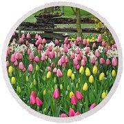 Pretty Tulips Garden Round Beach Towel