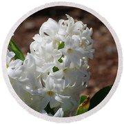 Pretty White Hyacinth Flower Blossom Flowering Round Beach Towel