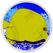 Pretty Yellow Fish Round Beach Towel