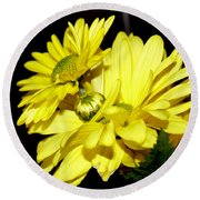 Pretty Yellow Flowers Round Beach Towel