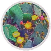 Prickly Pear Cactus 2 Round Beach Towel