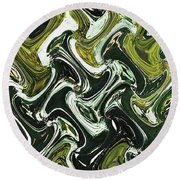 Prickly Pear With Green Fruit Abstract Round Beach Towel