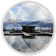 Priest Lake Boat Dock Reflection Round Beach Towel