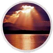 Priest Lake Sunset Heavenly Light Round Beach Towel
