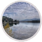 Priest River Panorama 8 Round Beach Towel