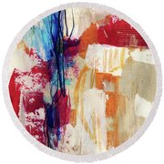 Primary 2- Abstract Art By Linda Woods Round Beach Towel
