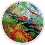 Primary Abstract I Detail 3 Round Beach Towel