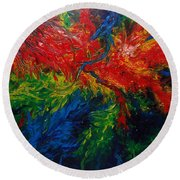 Primary Abstract II Round Beach Towel