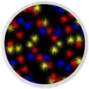 Primary Bursts Under Glass Round Beach Towel