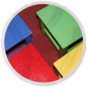 Primary Chairs Round Beach Towel