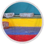 Primary Colored Doorstep Round Beach Towel