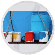 Primary Colors - Paint Buckets On A Ship Round Beach Towel