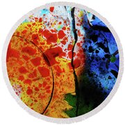 Primary Crystal Abstract Round Beach Towel