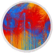 Primary Fluidity Round Beach Towel