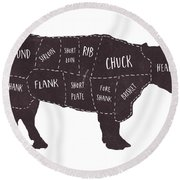 Primitive Butcher Shop Beef Cuts Chart T-shirt Round Beach Towel by Edward Fielding