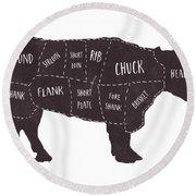 Primitive Butcher Shop Beef Cuts Chart T-shirt Round Beach Towel