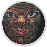 Primitive Man Round Beach Towel