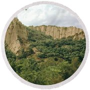 Prin Mountain Peaks Round Beach Towel