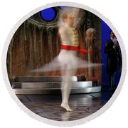 Prince Charming In Blurred Spin While Dancing In Ballet Jorgen P Round Beach Towel