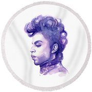 Prince Musician Watercolor Portrait Round Beach Towel