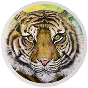 Prince Of The Jungle Round Beach Towel