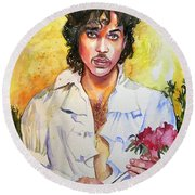Prince Rogers Nelson Holding A Rose Round Beach Towel