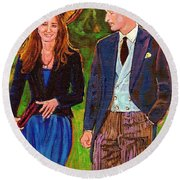 Prince William And Kate The Young Royals Round Beach Towel