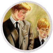 Prince William And Prince Harry Round Beach Towel