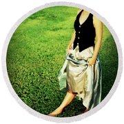 Princess Along The Grass Round Beach Towel