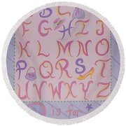 Princess Alphabet Round Beach Towel