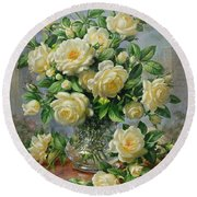 Princess Diana Roses In A Cut Glass Vase Round Beach Towel