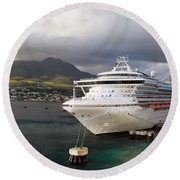 Princess Emerald Docked At Barbados Round Beach Towel