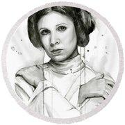 Princess Leia Portrait Carrie Fisher Art Round Beach Towel by Olga Shvartsur