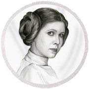 Princess Leia Watercolor Portrait Round Beach Towel by Olga Shvartsur