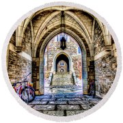 Princeton University Arches And Stairway To Education Round Beach Towel