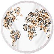 Princeton University Colors Swirl Map Of The World Atlas Round Beach Towel