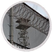 Prison Tower And Fence Round Beach Towel