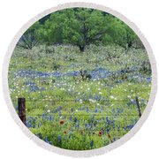 Private Property -wildflowers Of Texas. Round Beach Towel