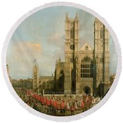 Procession Of The Knights Of The Bath Round Beach Towel