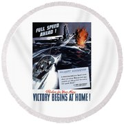Produce For Your Navy Round Beach Towel by War Is Hell Store