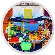 Produce Seller Round Beach Towel