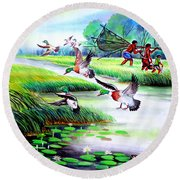 Artistic Painting Photo Flying Bird Handmade Painted Village Art Photo Round Beach Towel