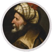 Profile Of A Barbary Pirate Round Beach Towel