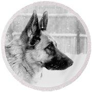 Profile Of A German Shepherd Round Beach Towel