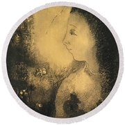 Profile Of A Woman With Flowers Round Beach Towel